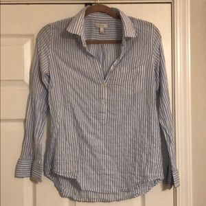 J. Crew striped cotton half-button down shirt